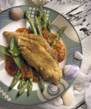 Cornmeal Crusted Croaker on Asparagus with Fresh Tomato Sauce
